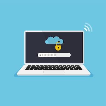 画面上にロックされたクラウドストレージを備えたラップトップファイル保護パスワードの入力データセキュリティ