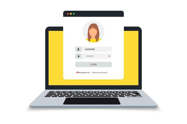 Ноутбук со страницей формы логина и пароля на экране, страница регистрации. страница входа, авторизация пользователя. концепция аутентификации входа на экран ноутбука. блокнот и онлайн-форма входа. профиль пользователя