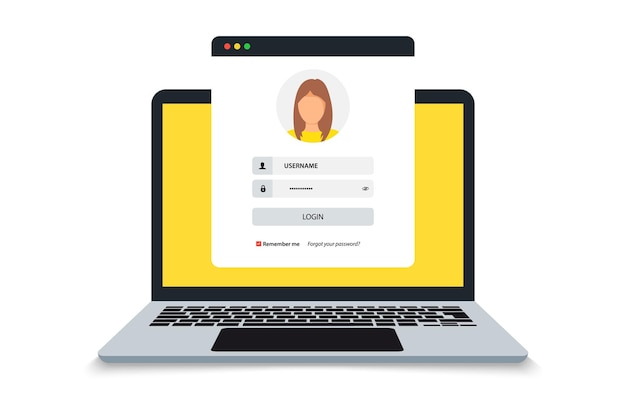 Laptop with login and password form page on screen, registration page. sign in page, user authorization. login authentication concept on laptop screen. notebook and online login form. user profile