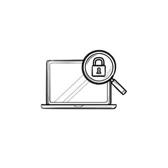 虫眼鏡と南京錠の手描きのアウトライン落書きアイコンが付いたノートパソコン。検索保護、セキュリティの概念