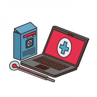 Laptop with medicine drugs
