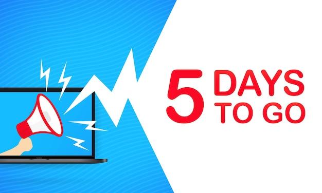 5일 동안 문자를 보낼 수 있는 확성기가 있는 노트북. 확성기. 방문 페이지, 템플릿, ui, 웹, 모바일 앱, 포스터, 배너, 전단지, 기프트 카드, 쿠폰. 벡터. eps 10.