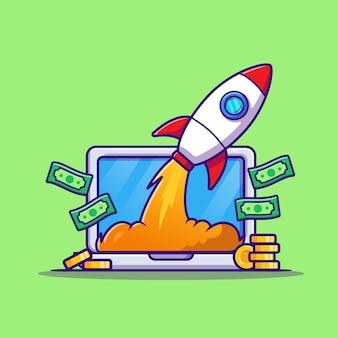 お金とロケット漫画ベクトルアイコンイラストとラップトップ。テクノロジービジネスアイコン