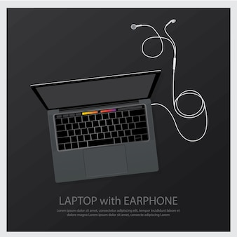 Laptop with music earphones illustration