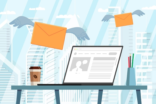 Laptop with news on desktop in modern office envelopes with wings flying receiving news message mail