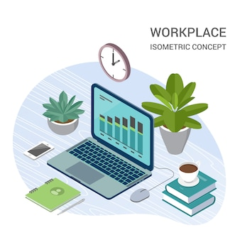 Laptop with office elements isometric illustration