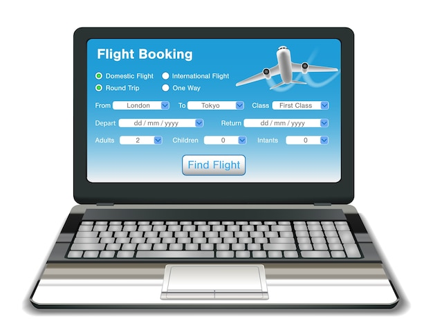 Laptop with online flight booking interface