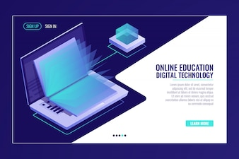 Laptop with open book, learning online education concept, electron library