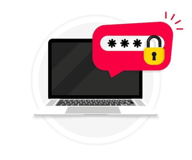 암호 알림 및 잠금 아이콘이 있는 노트북입니다. 비밀번호 보안 액세스. 계정을 잊어버렸습니다. 자물쇠와 암호가 있는 pc. 보안, 사용자 권한 부여, 개인 액세스, 보호 또는 권한 부여