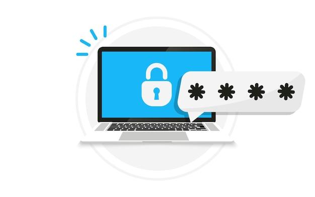 암호 알림 및 잠금 아이콘이 있는 노트북입니다. 방문 페이지, 웹, 포스터, 배너, 레이아웃, 템플릿을 위한 노트북의 암호 보안 액세스. 계정 로그인 및 비밀번호를 잊어버렸습니다. 자물쇠와 암호가 있는 pc