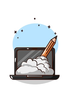 Laptop with pencil and smoke cartoon illustration
