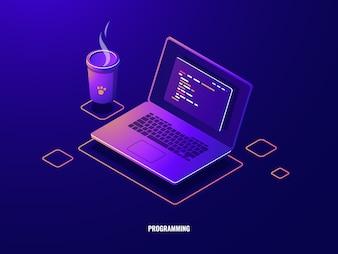 プログラムコード等尺性のアイコン、ソフトウェア開発とプログラミングアプリケーションの暗いネオンとラップトップ