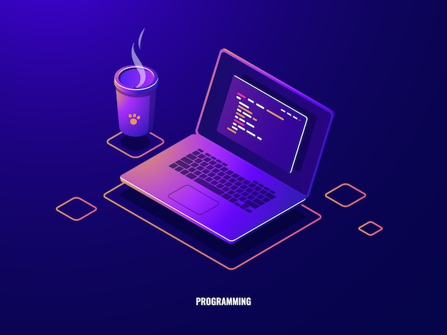 프로그램 코드 아이소 메트릭 아이콘, 소프트웨어 개발 및 프로그래밍 응용 프로그램 어두운 네온 노트북