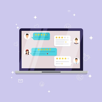レビュー評価付きのラップトップ。良い評価と悪い評価、テキスト、評価のメッセージ、通知、フィードバックのある星をレビューします。