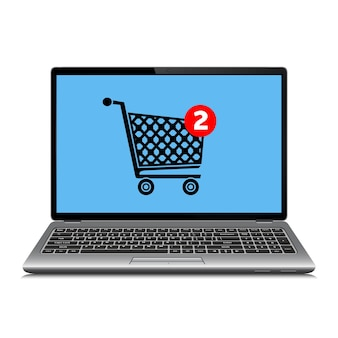 Laptop with shopping trolley on screen