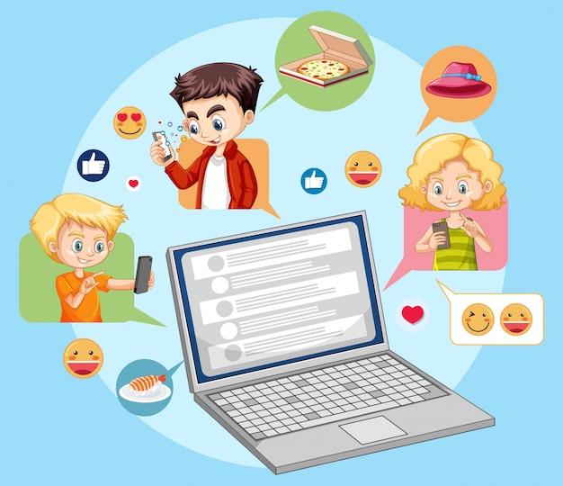 Ноутбук с социальными иконками emoji мультяшном стиле, изолированных на синем фоне