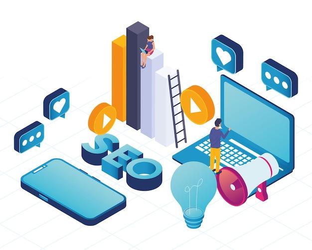 Laptop with social media marketing