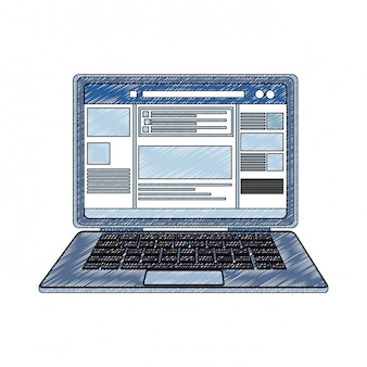 Laptop with social network profile scribble