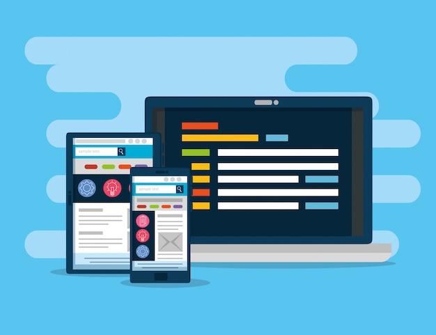 タブレットとスマートフォンのウェブサイト情報を備えたラップトップ