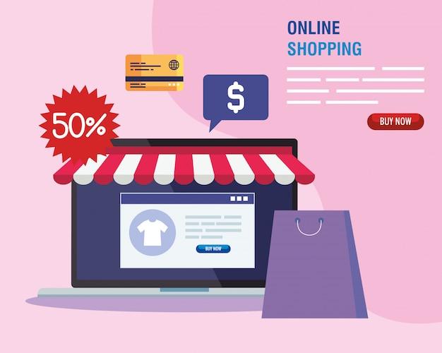 Ноутбук с веб-сайтом и набором иконок для палаток