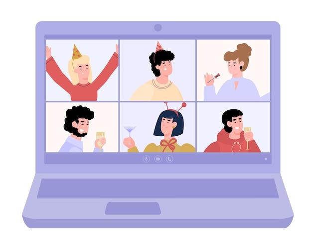 Ноутбук с виртуальной вечеринкой онлайн событие карикатура иллюстрации изолированы