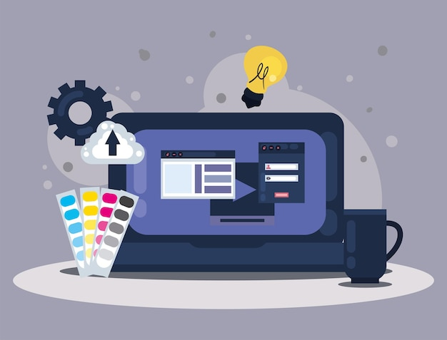 Laptop with web design scene