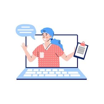 Ноутбук с женщина-врач или фармацевт мультфильм векторные иллюстрации изолированы