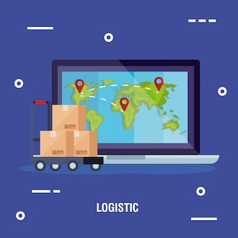 Laptop with world map and boxes over cart vector design