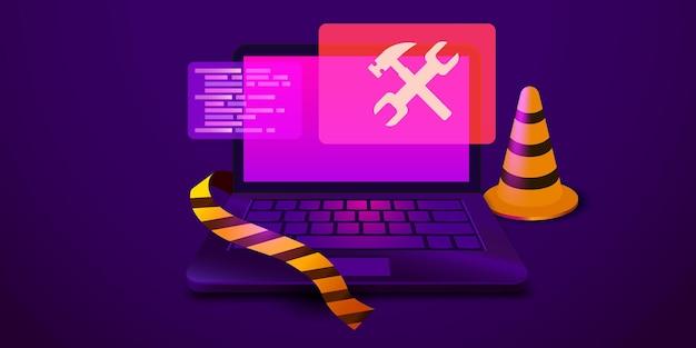 画面にレンチとハンマーが付いたノートパソコン修理サービスメンテナンステクニカルサポート...