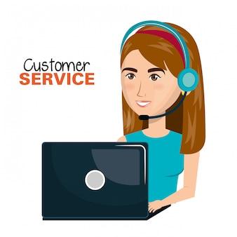 Laptop woman customer service call center design