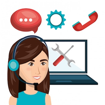Laptop woman customer service call center design