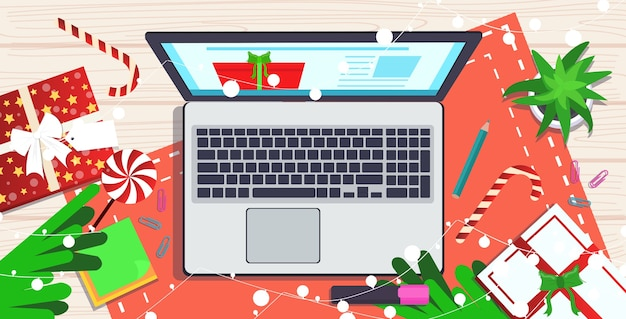 Laptop on workplace desk christmas holidays celebration concept top angle view   illustration