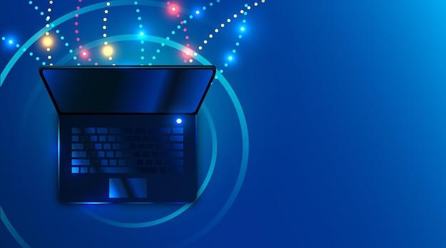 未来的なサイバースタイルのネットワークとインターネット接続を備えたラップトップ