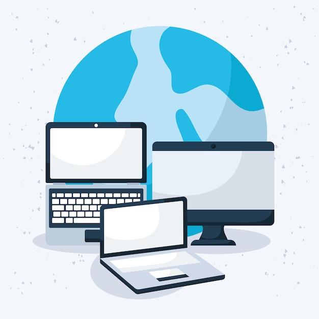 ノートパソコンと地球