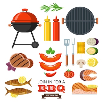 Large barbecue set vector illustration in flat style