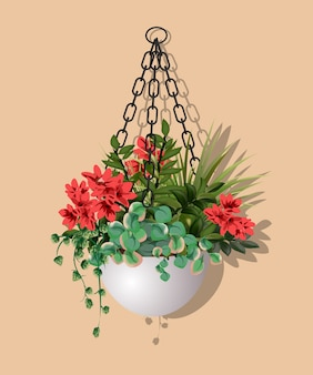 Large beautiful bush of different plants with hanging red flowers in a flower pot isolated on warm background.