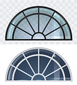 Large black and white arched roof window set.