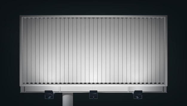 Large business horizontal billboard for promotion and advertisement with blank canvas and spotlights isolated