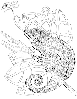 Large chameleon on end of stick sticking out tongue to reach fly colorless line drawing huge