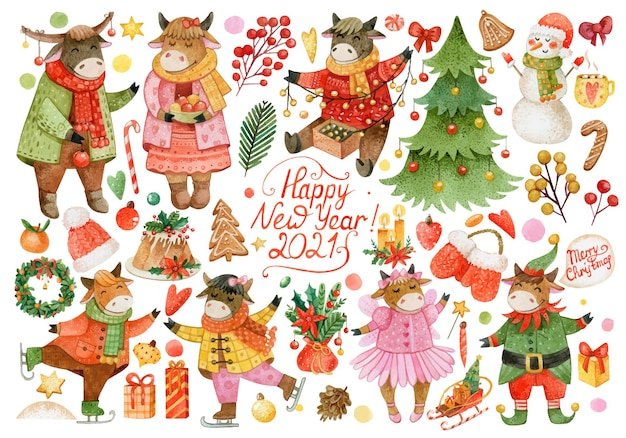 Large christmas set of watercolor bulls, winter clothes, cookies, cupcake, christmas tree, tangerines, candles, snowman, pine cones
