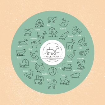 A large circular vector icon set of rural animals in a linear style