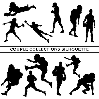 Large collection of black basketball player silhouettes in different poses