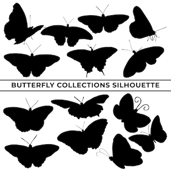 Large collection of butterfly silhouettes in different poses