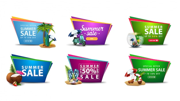 Large collection of colorful summer discount banners in the form of geometric irregular shapes with summer elements.