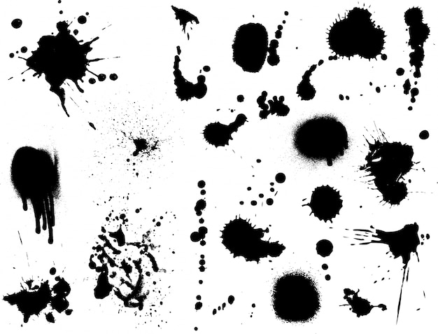 Large collection of detailed ink splats