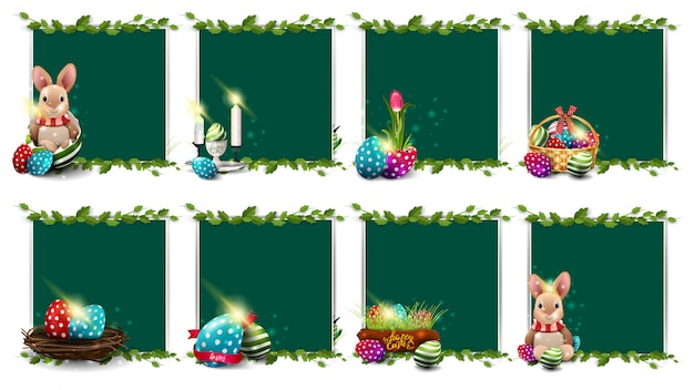 Large collection easter templates with easter icons, frame of liana and green board