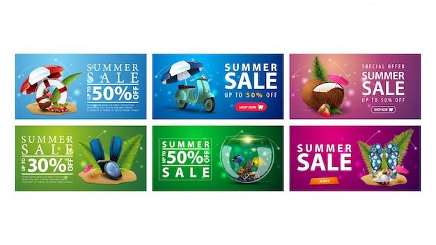 Большая коллекция красочных летних дисконтных баннеров с летними элементами