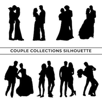 さまざまなポーズセットのカップルのシルエットの大規模なコレクション