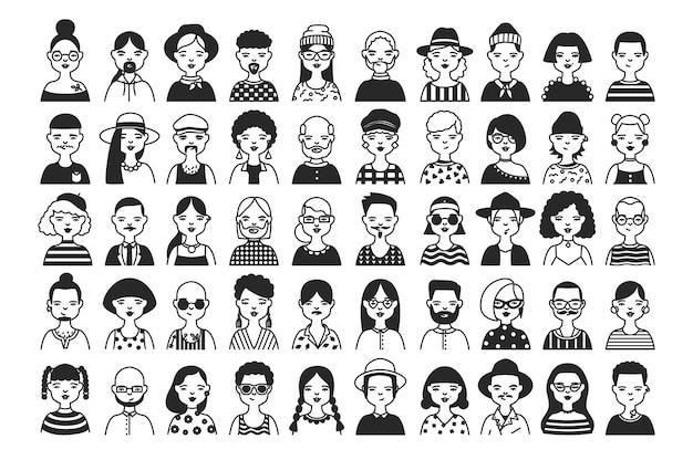 흑백 색상의 등고선으로 그린 다양한 헤어스타일과 액세서리를 가진 남성 및 여성 만화 캐릭터 또는 아바타의 대규모 컬렉션입니다. 흑백 벡터 일러스트 레이 션.