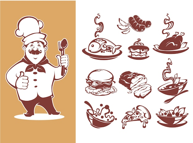 Large collection for your menu, chef, breackfast, soup, main, course, salad, desert